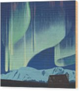 Babine Mountains Aurora Wood Print
