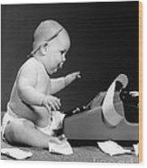 Baby Accountant Wood Print