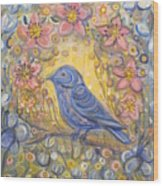 Baby Blue Bird Garden Wood Print