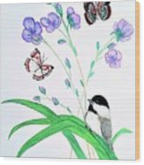 Baby Chickadee And Butterflies Wood Print