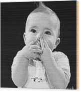 Baby Covering Mouth With Hands, C.1950s Wood Print