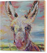 Baby Donkey Painting By Kim Guthrie Art Wood Print