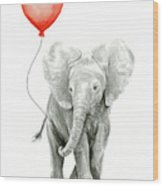 Baby Elephant Watercolor Red Balloon Wood Print