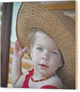 Baby Girl Wearing Straw Hat Wood Print