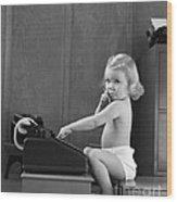 Baby Girl With Adding Machine, C.1940s Wood Print