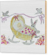 Baby Girl With Bunny And Birds Wood Print