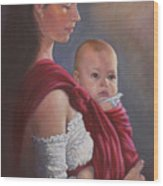Baby In Rebozo Wood Print