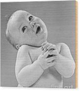 Baby In Sentimental Pose, C.1950s Wood Print