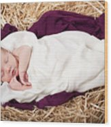 Baby Jesus Nativity Wood Print by Cindy Singleton