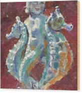 Baby Mermaid Avec Seahorses Wood Print