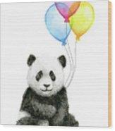 Baby Panda Watercolor With Balloons Wood Print