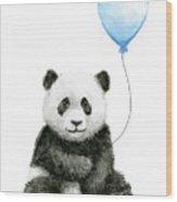 Baby Panda With Blue Balloon Watercolor Wood Print
