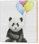 Baby Panda With Heart-shaped Balloons Wood Print