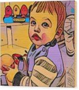 Baby Play Wood Print