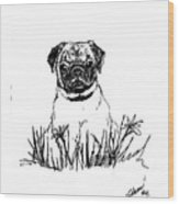 Baby Pug In Flowers Wood Print