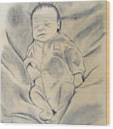 Baby Sleeping Wood Print