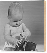 Baby Taking Money From Wallet, C.1960s Wood Print