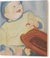 Baby With Baseball Glove Wood Print