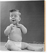 Baby With Vain Expression, 1950s Wood Print