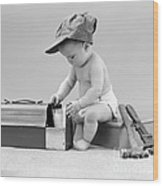 Baby With Work Tools And Lunch Pail Wood Print