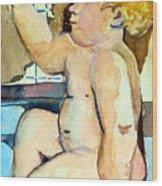 Babys Bath Wood Print by Mindy Newman