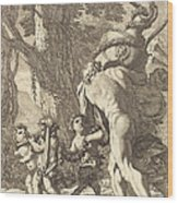 Bacchanal With Figures Carrying A Vase Wood Print