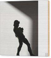 Bacchus Statuette Shadow Silhouette Wood Print