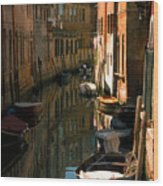 Back Canal In Venice Wood Print