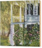 Back Porch Of Grove Plantation, Ace Basin Wood Print