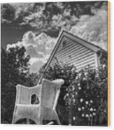 Back Porch Rocking Chair Wood Print
