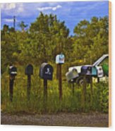 Back Road Mailboxes Wood Print