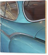 Back Side Of A Blue Vintage Car  Wood Print
