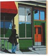 Back Street Grill - Urban Art Wood Print by Linda Apple