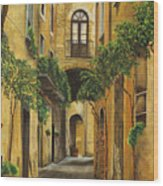 Back Street In Italy Wood Print by Charlotte Blanchard