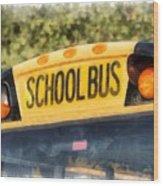 Back To School Bus Watercolor Wood Print