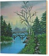 Back Woods Bridge Wood Print