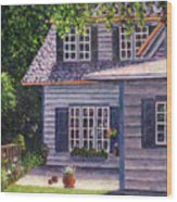 Back Yard With Flower Pots Wood Print