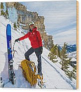 Backcountry Skier Preps For Ice Climbing On Cobb Peak In Idaho Wood Print