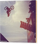 Backflip Descent Wood Print