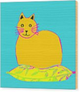 Background Colour Choice Saffron Cat Wood Print