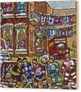 Backlane Snowy Winter Scene Hockey Game Verdun Alley Montreal Team Jerseys Canadian Art Wood Print