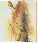 Backyard American Goldfinch Wood Print