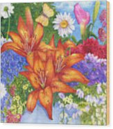 Backyard Bouquet Wood Print