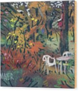 Backyard In Autumn Wood Print by Donald Maier
