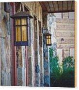 Backyard Lanterns Wood Print