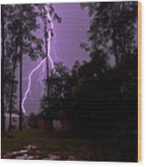 Backyard Lightning Wood Print