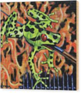 Bad Froggy In Hell Wood Print