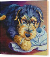 Bad Puppy Airedale Terrier Wood Print