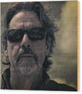 Badass Man In Sunglasses Stares Into The Unknown Wood Print