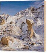 Badlands Hoodoo In The Snow Wood Print